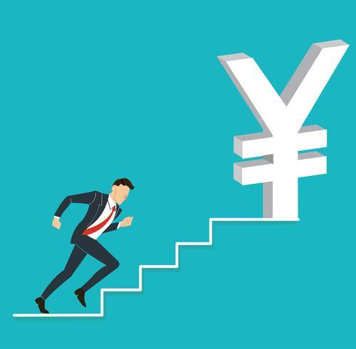 uomo d'affari che corre all'icona del dollaro Yen giapponese vettore