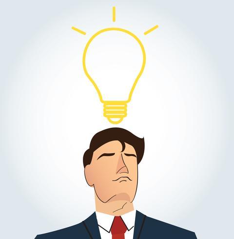 Uomo d'affari pensando con forma di lampadina. concetto di pensiero vettore