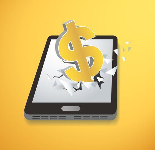 Icona del dollaro Smartphone schermo rivoluzionario vettore