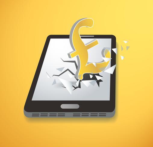 Vettore dello sterzo dello schermo di innovazione dell'icona della libbra britannica