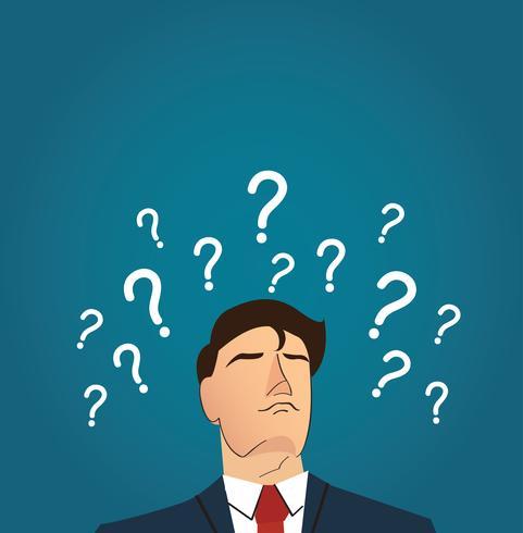 Uomo d'affari con il punto interrogativo. prendere il concetto di decisione vettore