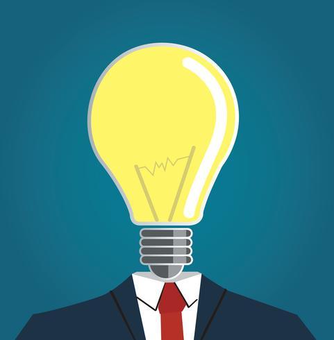 Uomo d'affari con la lampadina testa vettoriale