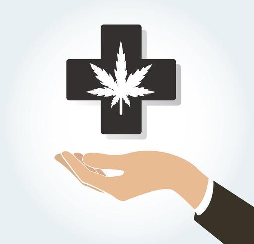 mano che tiene l'icona di terapia medica e assistenza sanitaria di cannabis vettore