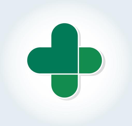 cuore nella progettazione dell'icona dell'ospedale, cuore nel simbolo medico vettore