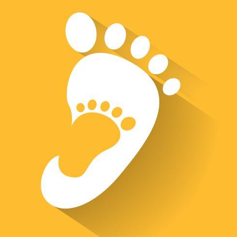 impronta del bambino nell'icona del piede adulto. Icona del negozio di scarpe per bambini. Segno di famiglia Simbolo genitore e figlio Emblema di adozione. Campagna di beneficenza. vettore