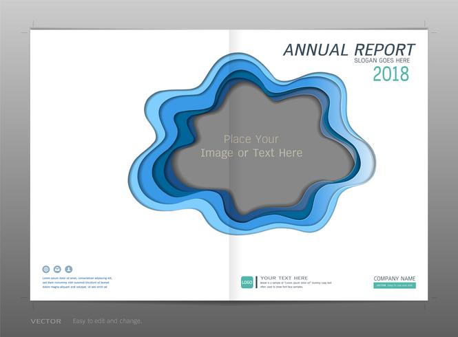 Coprire la relazione annuale di progettazione, spazio vuoto per la tua immagine. vettore