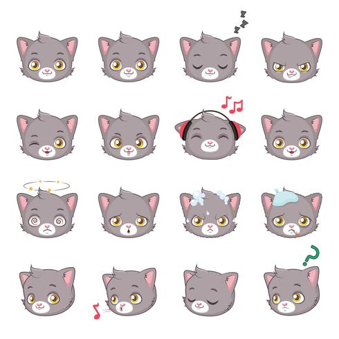 icona della testa del gattino vettore