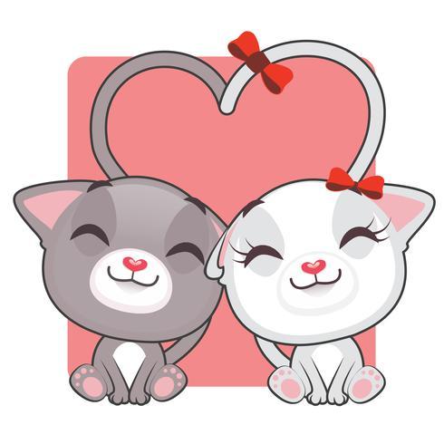 Simpatici gattini innamorati vettore