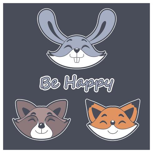Facce di animali felici vettore