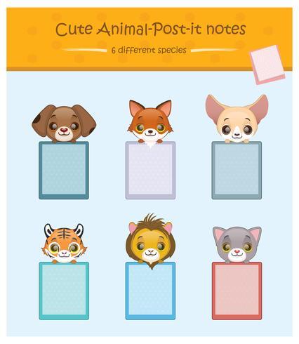 Set di portablocchi con simpatici animali domestici vettore