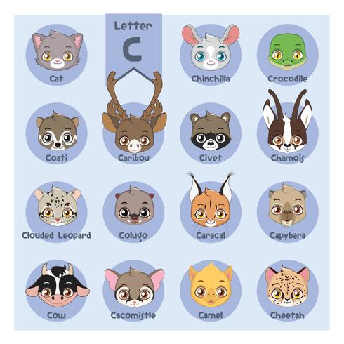 Alfabeto di ritratto animale - lettera C vettore
