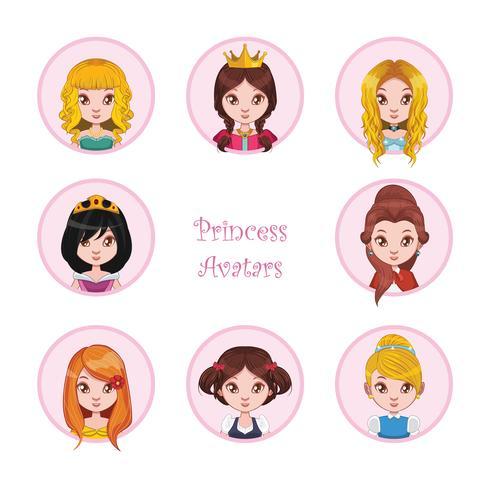 Collezione di avatar di principessa vettore