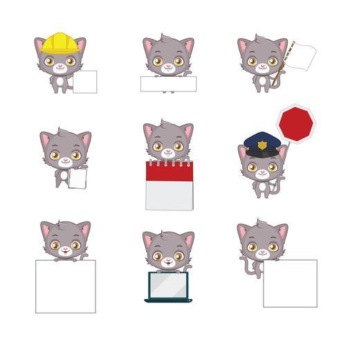 Posizioni funzionali del gatto grigio sveglio vettore