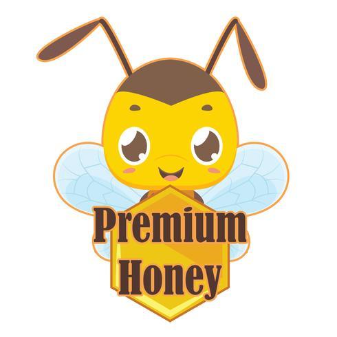 Distintivo di miele premium con ape carina vettore