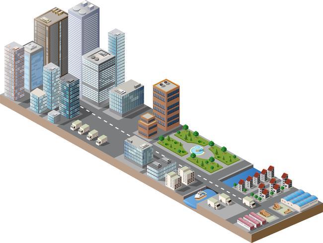 centro città isometrica vettore