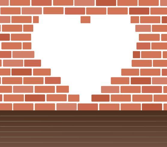 Parete dei mattoni e del vettore di arte del fondo dello spazio del cuore