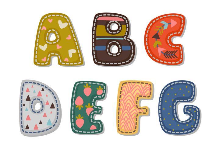 Bellissima stampa di caratteri audaci alfabetici per bambini parte 1 vettore
