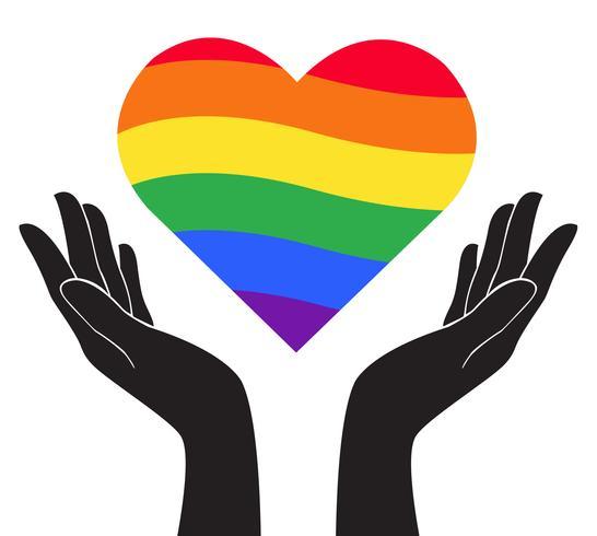 mano che tiene il cuore arcobaleno bandiera simbolo LGBT vettore