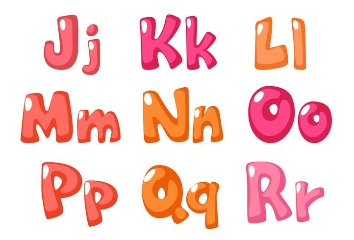 simpatico carattere grassetto in colore rosa per bambini parte 2 vettore