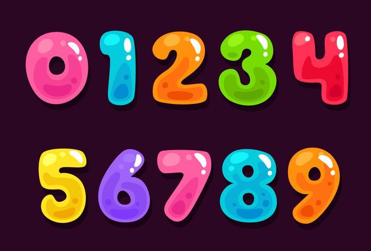 Jelly numeri colorati alfabeto vettore