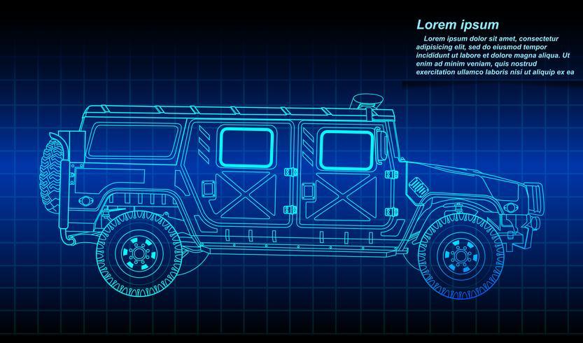 Schizzo del profilo del veicolo militare. vettore