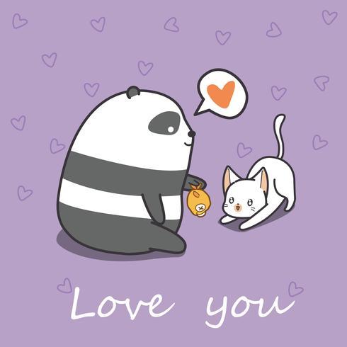 Panda sta alimentando il gatto in stile cartone animato. vettore