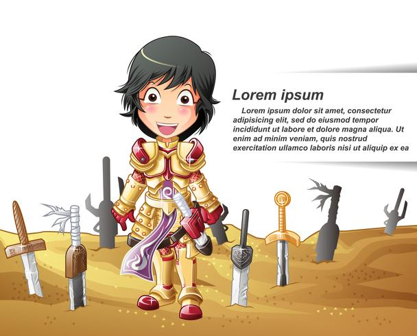 personaggio del cavaliere in stile cartoon. vettore