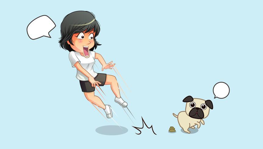 È scioccata per cane e feci. vettore