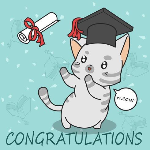 laurea simpatico gatto in stile cartone animato. vettore