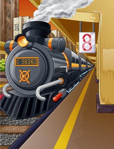 Ferrovia nella stazione ferroviaria e motore a vapore. vettore