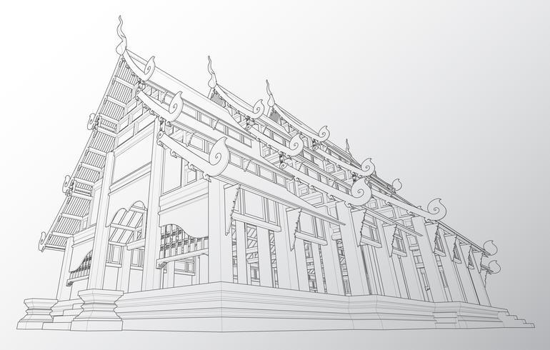 Wireframe del tempio thailandese. vettore
