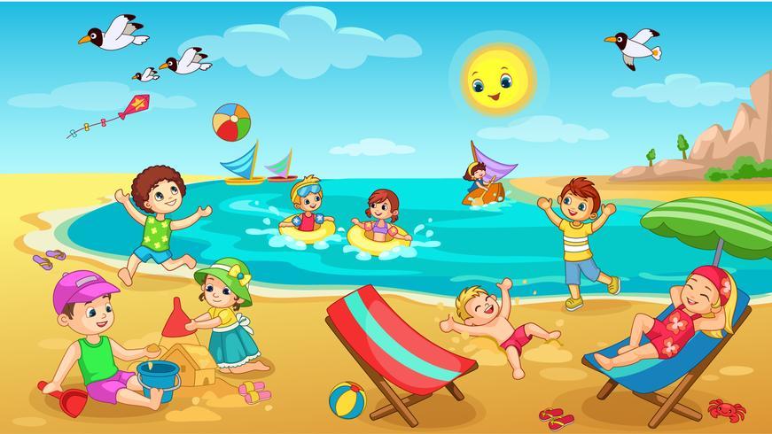 Bambini che giocano sulla spiaggia vettore
