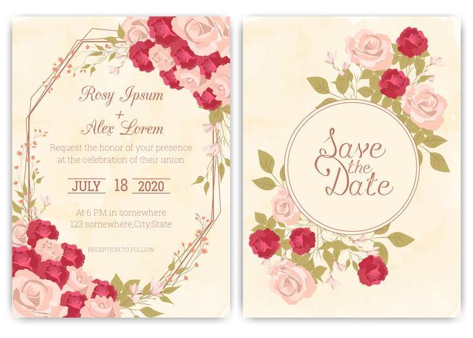 Carta di invito di nozze Cornice disegnata a mano floreale. vettore