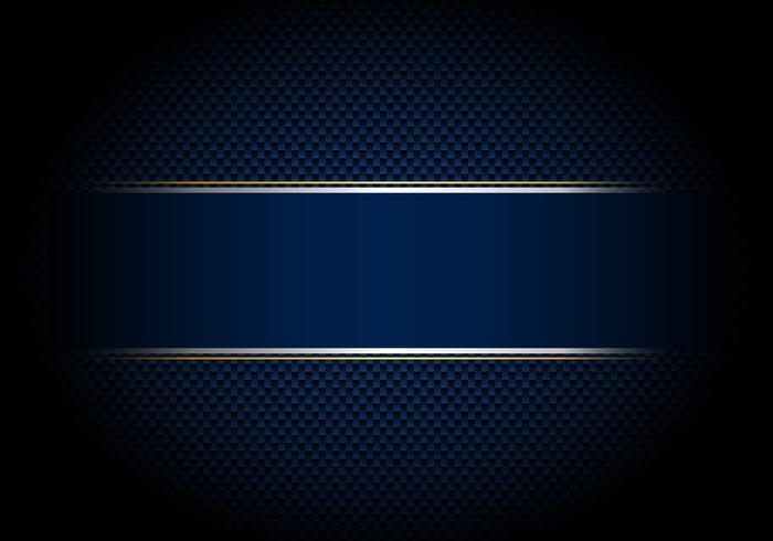 Sfondo in fibra di carbonio e texture e illuminazione con etichetta blu e argento, linea d'oro. vettore