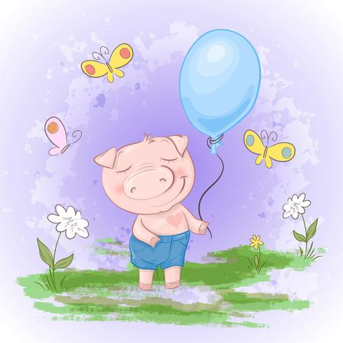 Cartolina carina, maiale con fiori a palloncino e farfalle. Stile cartone animato Vettore