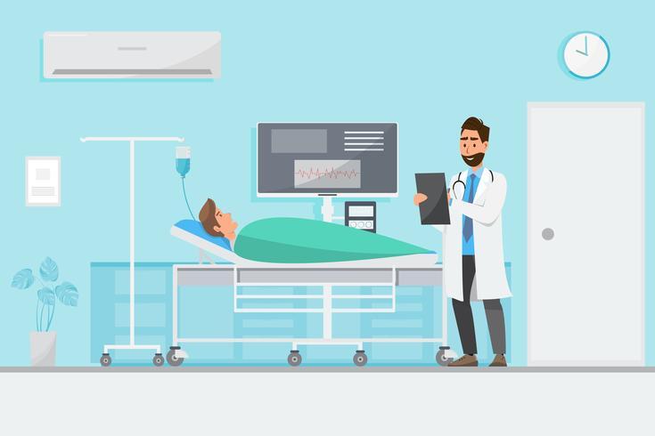 Concetto medico con medico e paziente in cartone animato piatto sul corridoio dell'ospedale vettore
