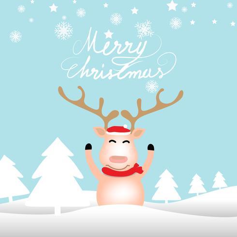 Fondo di Natale con la renna che sta sul fondo di colore di blu pastello morbido vettore