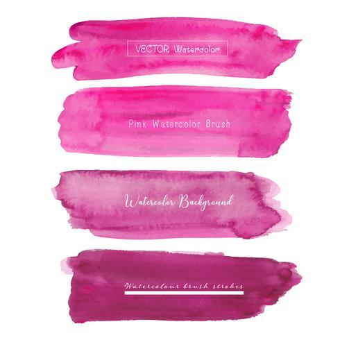 Insieme del fondo rosa dell'acquerello, logo del colpo della spazzola, illustrazione di vettore. vettore