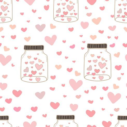 Il cuore in barattolo modella il fondo del modello, modello con il barattolo di vetro e cuore dentro, modello di stile di scarabocchio di amore, fondo della carta da imballaggio del regalo, illustrazione di vettore. vettore
