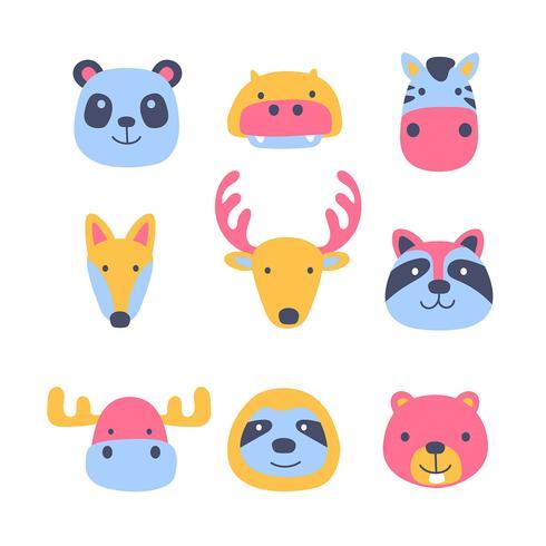 Set di volti di cartoon animali amici animali vettore