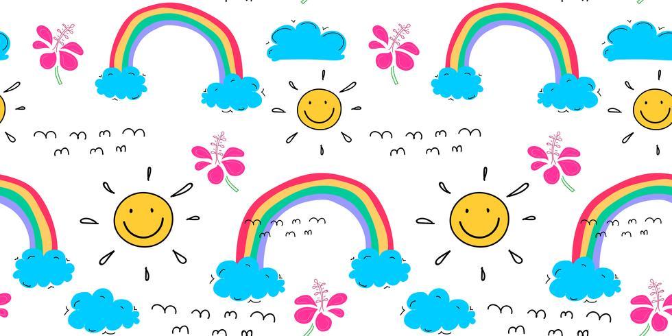 Fondo del modello di estate con le nuvole ed il sole, modello tropicale disegnato a mano, illustrazione di vettore. vettore