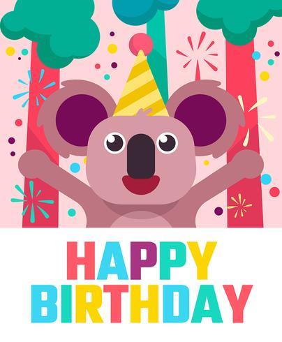 Auguri di buon compleanno animali vettore