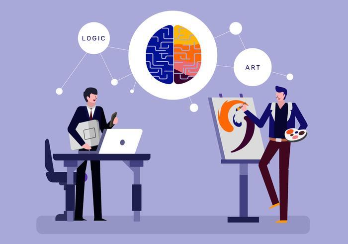 Illustrazione piana del carattere di vettore di cervello umano di creatività