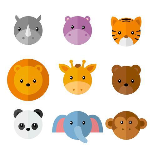Set di facce di animali selvatici semplice del fumetto vettore