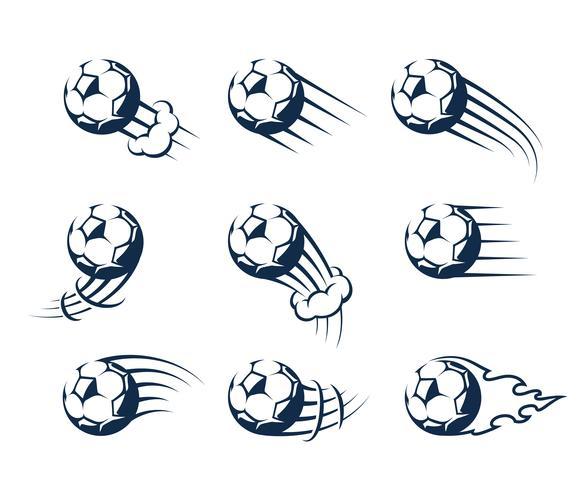Set di Vector Moving Soccer Balls