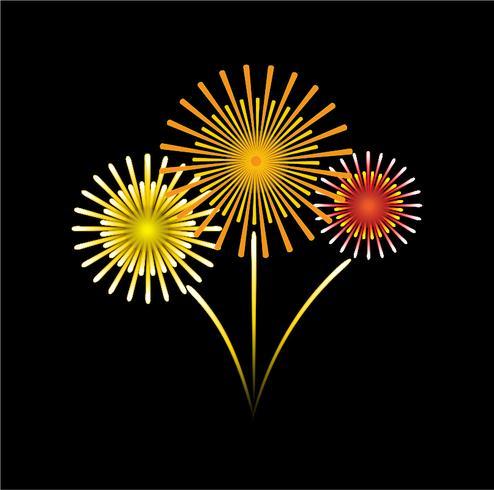 vettore di fuochi d'artificio di stile cartone animato sul cielo nero