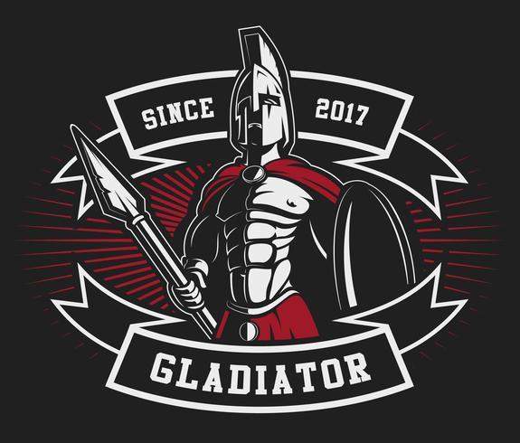 Emblema del gladiatore con una lancia vettore