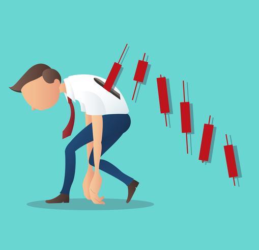 Illustrazione di vettore di concetto di affari degli uomini d'affari di una depressione con il grafico del candeliere, concetto del mercato azionario bearish