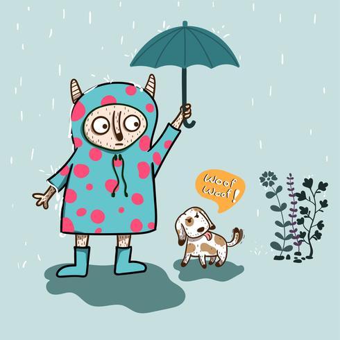 mostro dall'aspetto carino tiene in mano un ombrello per il cane mentre piove forte vettore