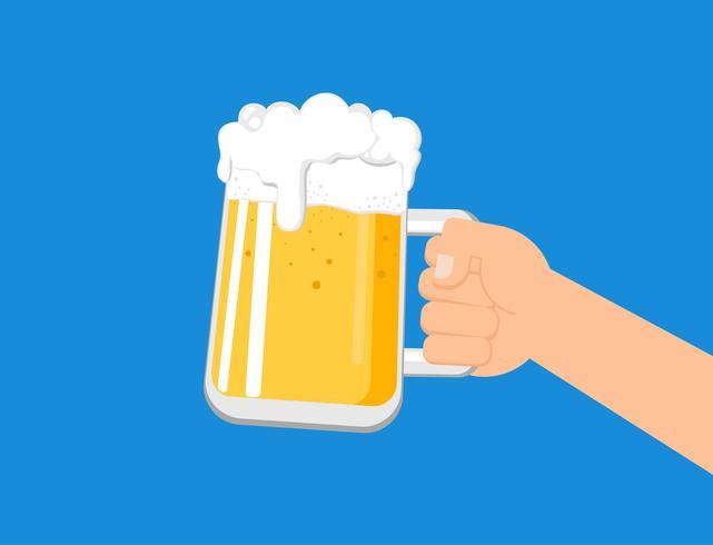 Mani in possesso di un boccale di birra isolato su sfondo blu - illustrazione vettoriale